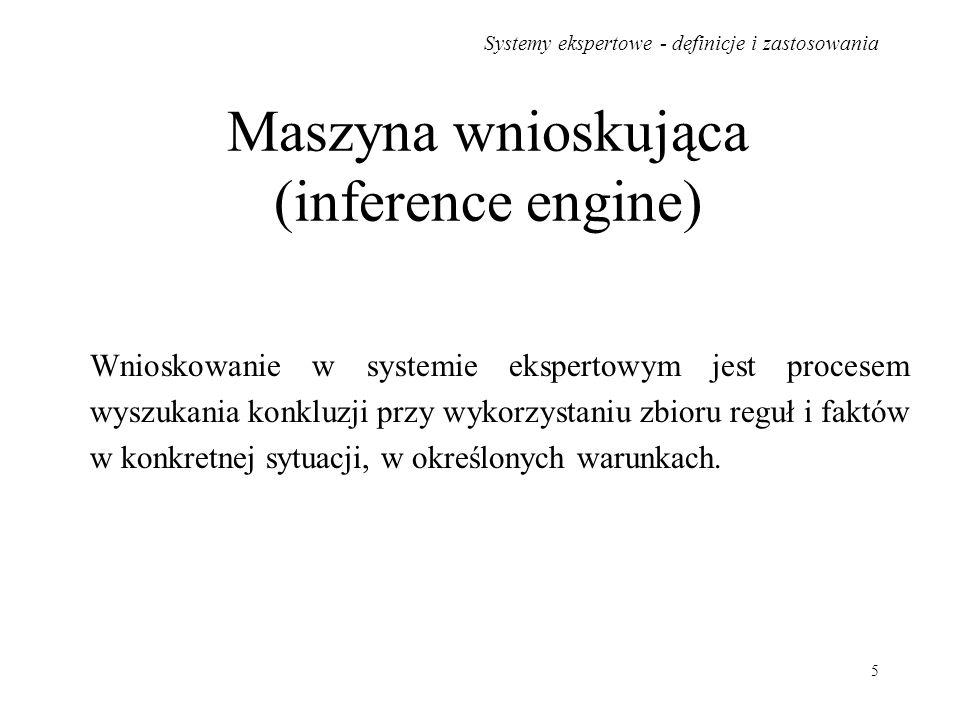 Systemy ekspertowe - definicje i zastosowania 5 Maszyna wnioskująca (inference engine) Wnioskowanie w systemie ekspertowym jest procesem wyszukania ko