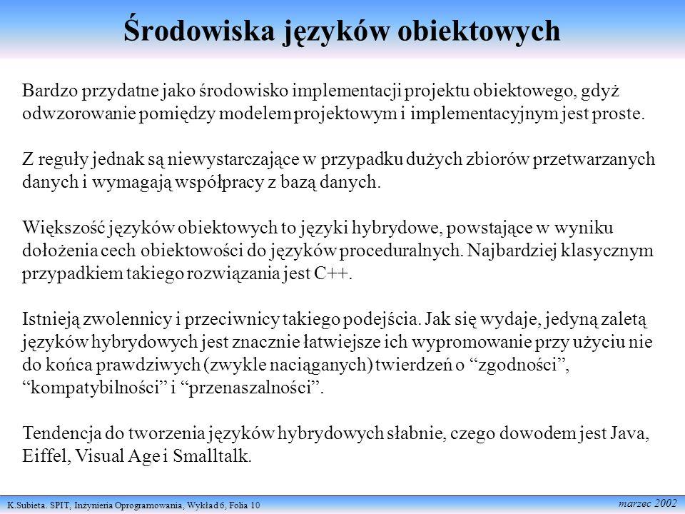 K.Subieta. SPIT, Inżynieria Oprogramowania, Wykład 6, Folia 10 marzec 2002 Środowiska języków obiektowych Bardzo przydatne jako środowisko implementac