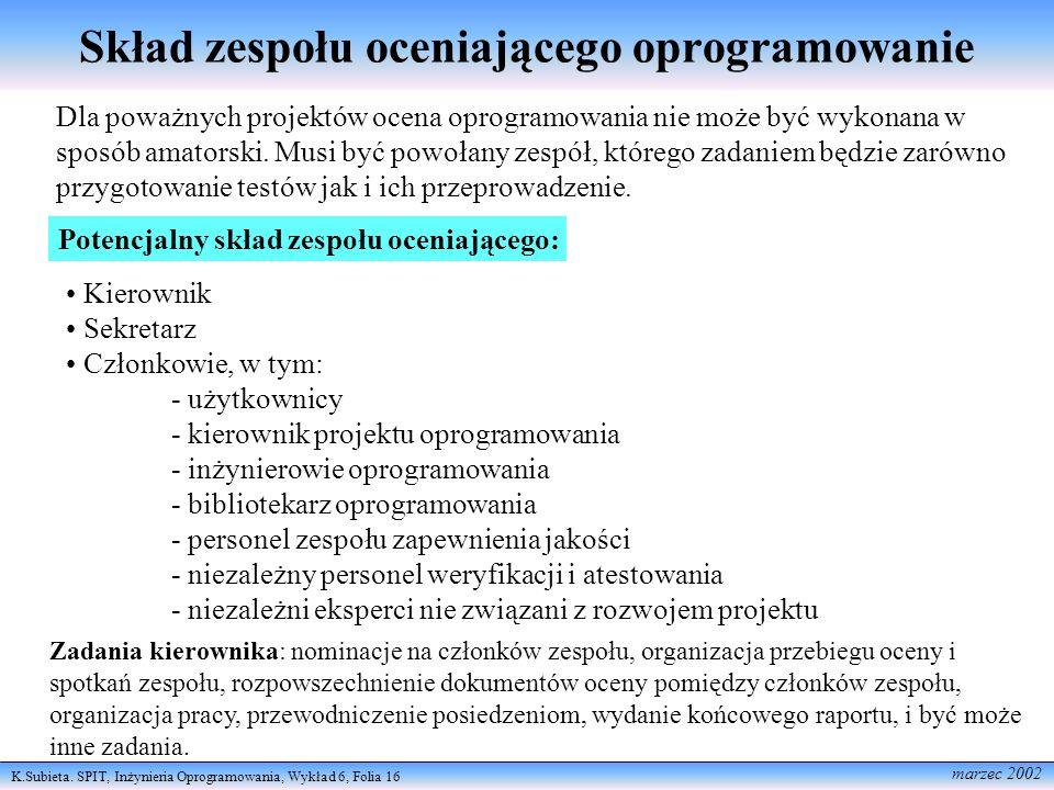 K.Subieta. SPIT, Inżynieria Oprogramowania, Wykład 6, Folia 16 marzec 2002 Skład zespołu oceniającego oprogramowanie Dla poważnych projektów ocena opr