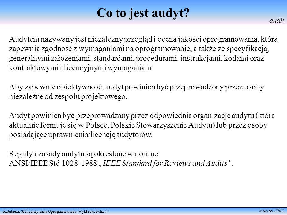 K.Subieta. SPIT, Inżynieria Oprogramowania, Wykład 6, Folia 17 marzec 2002 Co to jest audyt? audit Audytem nazywany jest niezależny przegląd i ocena j