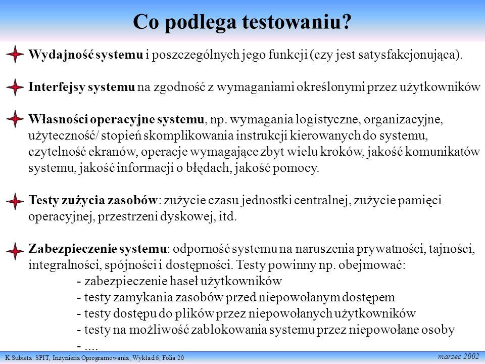K.Subieta. SPIT, Inżynieria Oprogramowania, Wykład 6, Folia 20 marzec 2002 Co podlega testowaniu? Wydajność systemu i poszczególnych jego funkcji (czy
