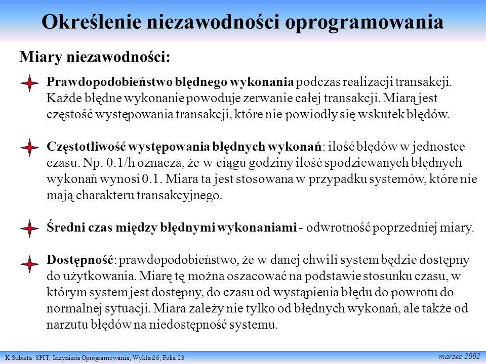 K.Subieta. SPIT, Inżynieria Oprogramowania, Wykład 6, Folia 23 marzec 2002 Określenie niezawodności oprogramowania Miary niezawodności: Prawdopodobień