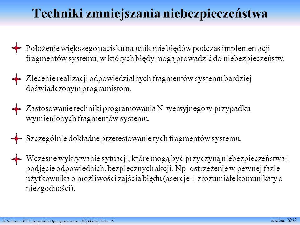K.Subieta. SPIT, Inżynieria Oprogramowania, Wykład 6, Folia 25 marzec 2002 Techniki zmniejszania niebezpieczeństwa Położenie większego nacisku na unik