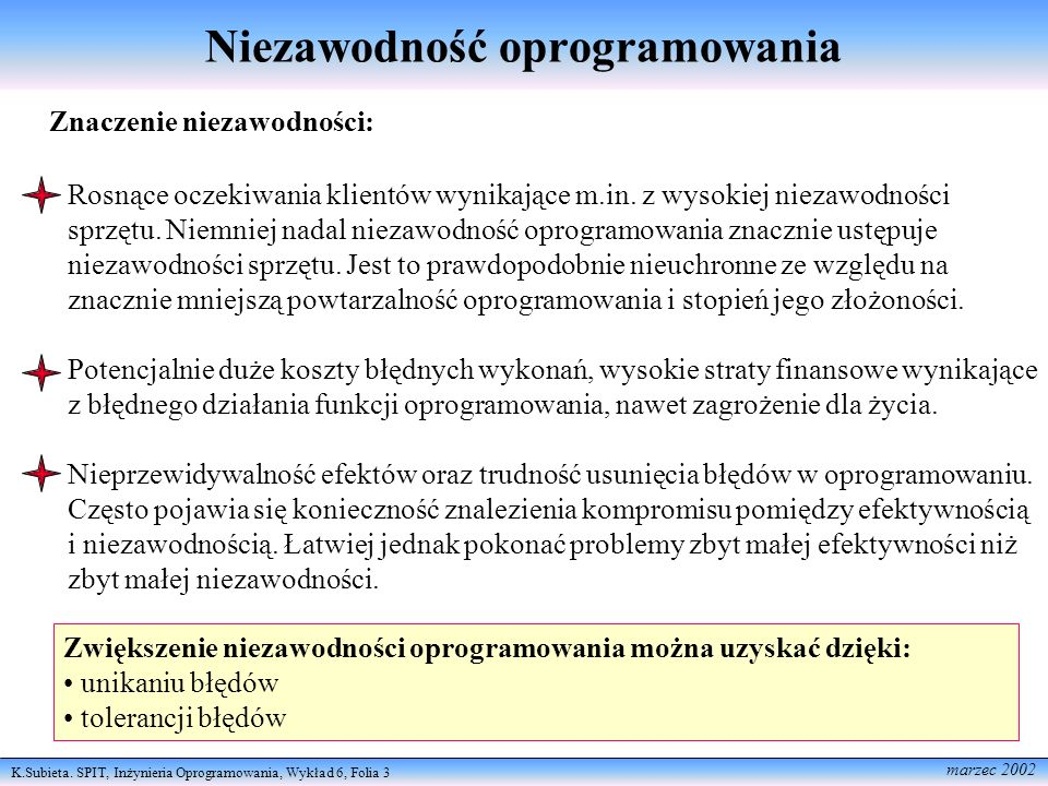 K.Subieta. SPIT, Inżynieria Oprogramowania, Wykład 6, Folia 3 marzec 2002 Niezawodność oprogramowania Znaczenie niezawodności: Rosnące oczekiwania kli