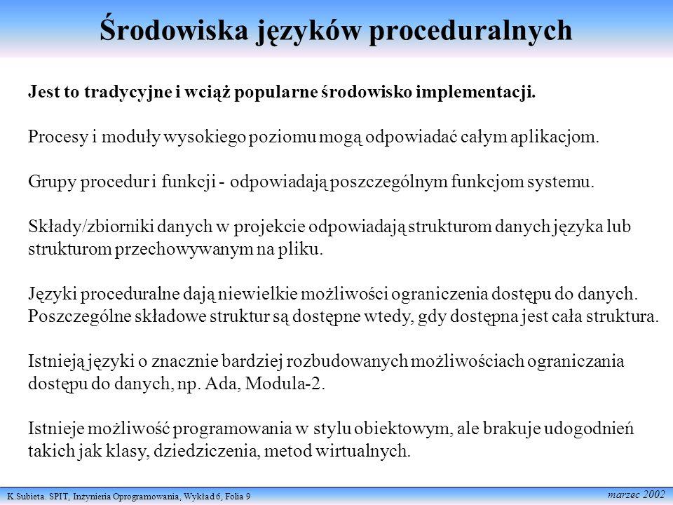 K.Subieta. SPIT, Inżynieria Oprogramowania, Wykład 6, Folia 9 marzec 2002 Środowiska języków proceduralnych Jest to tradycyjne i wciąż popularne środo