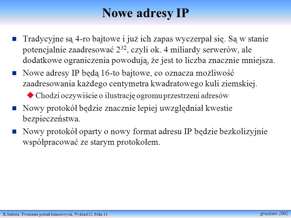 K.Subieta. Tworzenie portali biznesowych, Wykład 12, Folia 13 grudzień 2002 Nowe adresy IP Tradycyjne są 4-ro bajtowe i już ich zapas wyczerpał się. S