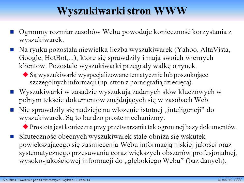 K.Subieta. Tworzenie portali biznesowych, Wykład 12, Folia 14 grudzień 2002 Wyszukiwarki stron WWW Ogromny rozmiar zasobów Webu powoduje konieczność k