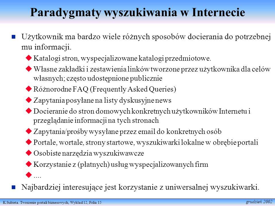 K.Subieta. Tworzenie portali biznesowych, Wykład 12, Folia 15 grudzień 2002 Paradygmaty wyszukiwania w Internecie Użytkownik ma bardzo wiele różnych s