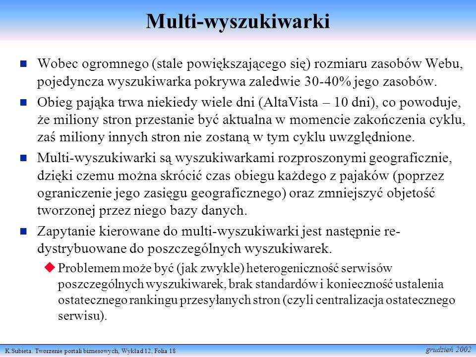 K.Subieta. Tworzenie portali biznesowych, Wykład 12, Folia 18 grudzień 2002 Multi-wyszukiwarki Wobec ogromnego (stale powiększającego się) rozmiaru za