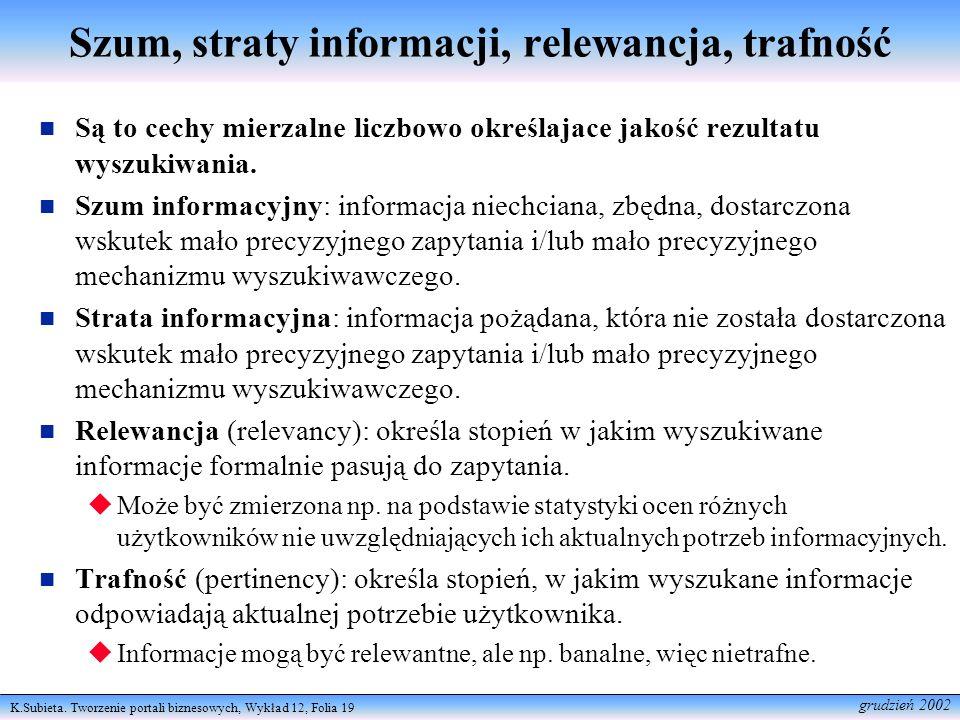 K.Subieta. Tworzenie portali biznesowych, Wykład 12, Folia 19 grudzień 2002 Szum, straty informacji, relewancja, trafność Są to cechy mierzalne liczbo