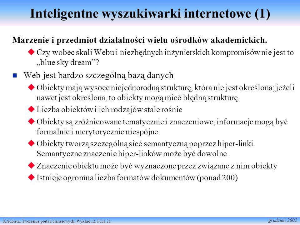 K.Subieta. Tworzenie portali biznesowych, Wykład 12, Folia 21 grudzień 2002 Inteligentne wyszukiwarki internetowe (1) Marzenie i przedmiot działalnośc