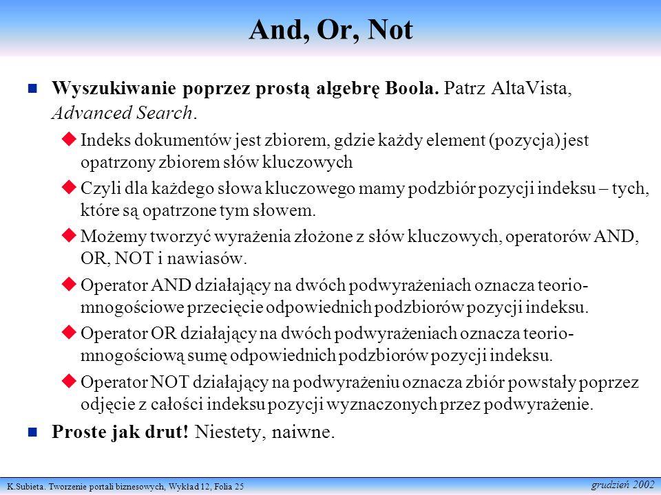 K.Subieta. Tworzenie portali biznesowych, Wykład 12, Folia 25 grudzień 2002 And, Or, Not Wyszukiwanie poprzez prostą algebrę Boola. Patrz AltaVista, A