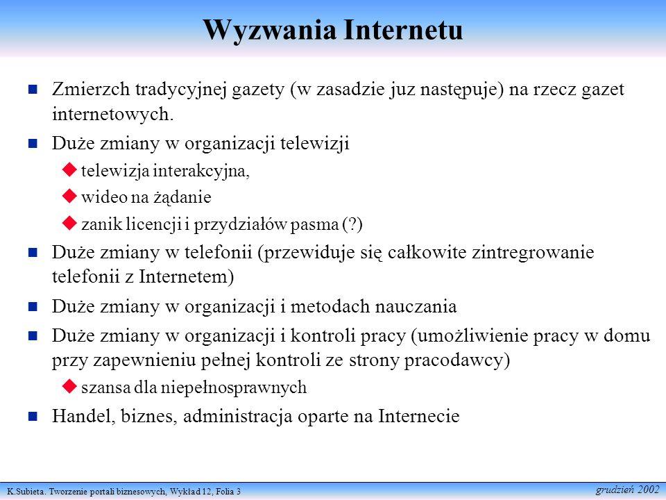 K.Subieta. Tworzenie portali biznesowych, Wykład 12, Folia 3 grudzień 2002 Wyzwania Internetu Zmierzch tradycyjnej gazety (w zasadzie juz następuje) n