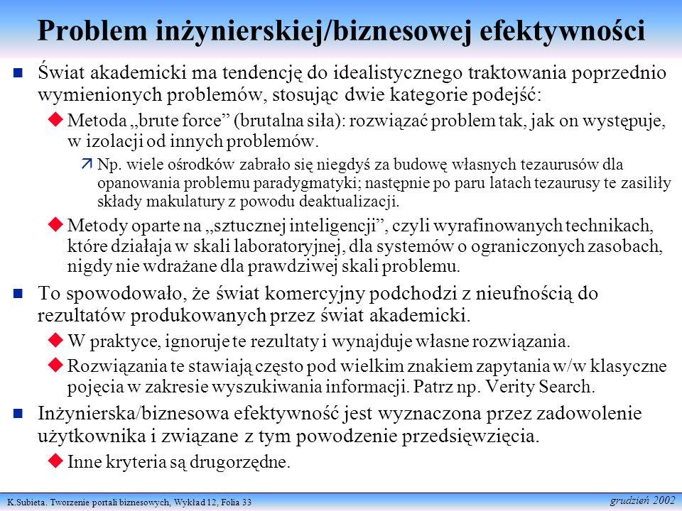 K.Subieta. Tworzenie portali biznesowych, Wykład 12, Folia 33 grudzień 2002 Problem inżynierskiej/biznesowej efektywności Świat akademicki ma tendencj