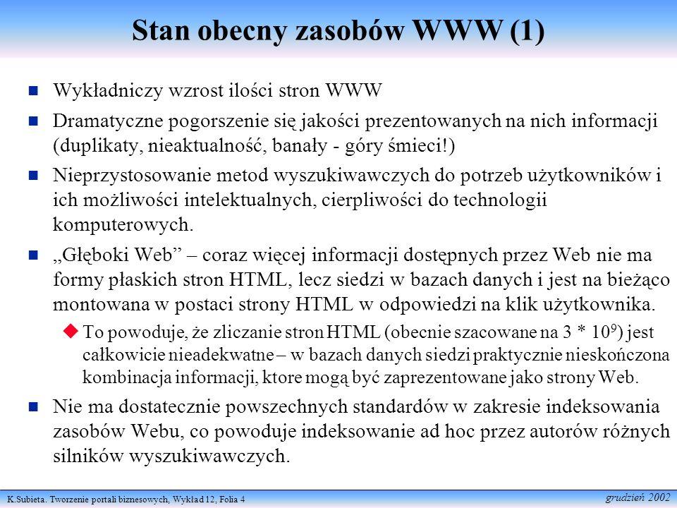 K.Subieta. Tworzenie portali biznesowych, Wykład 12, Folia 4 grudzień 2002 Stan obecny zasobów WWW (1) Wykładniczy wzrost ilości stron WWW Dramatyczne