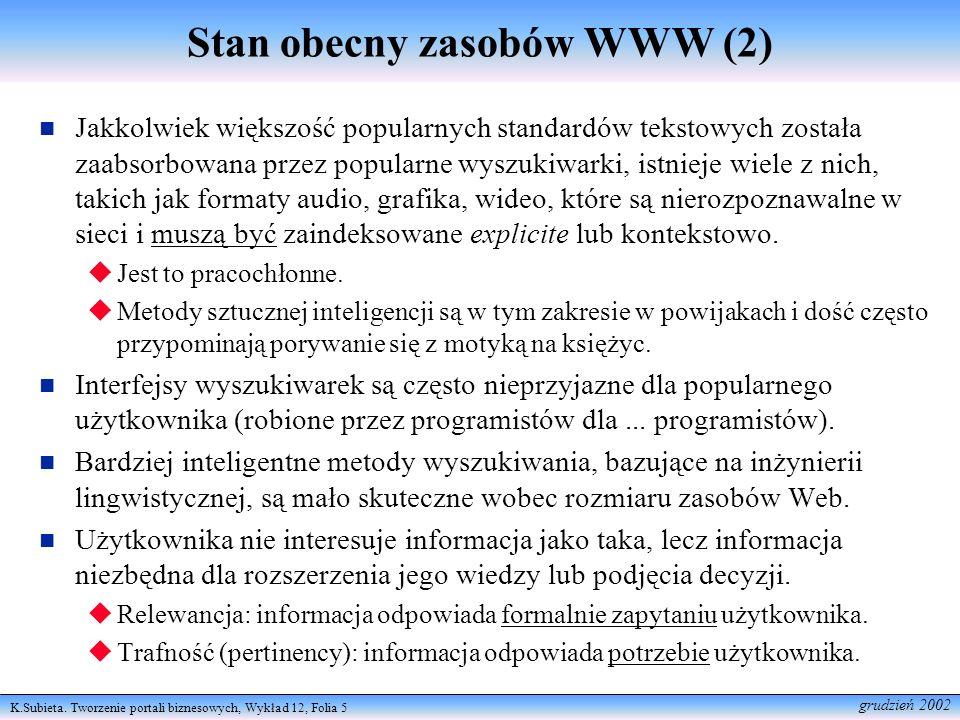K.Subieta. Tworzenie portali biznesowych, Wykład 12, Folia 5 grudzień 2002 Stan obecny zasobów WWW (2) Jakkolwiek większość popularnych standardów tek