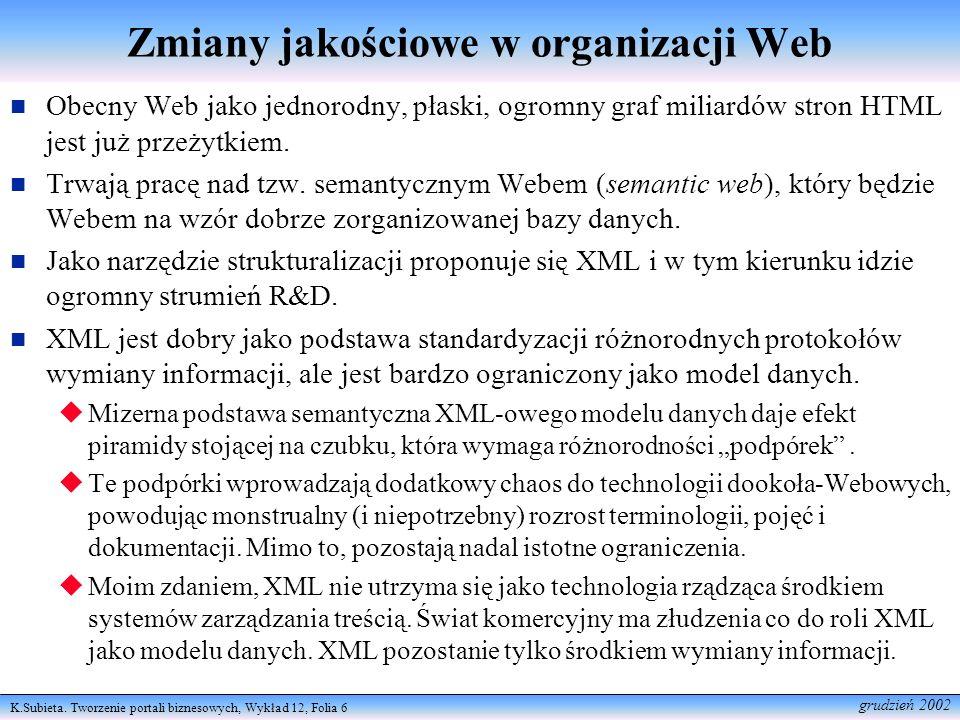 K.Subieta. Tworzenie portali biznesowych, Wykład 12, Folia 6 grudzień 2002 Zmiany jakościowe w organizacji Web Obecny Web jako jednorodny, płaski, ogr