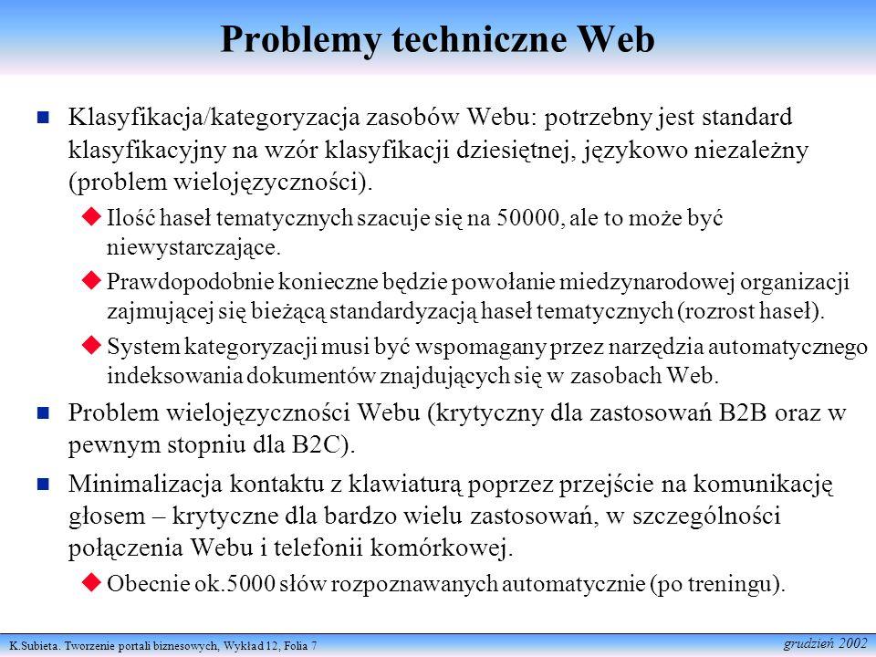 K.Subieta. Tworzenie portali biznesowych, Wykład 12, Folia 7 grudzień 2002 Problemy techniczne Web Klasyfikacja/kategoryzacja zasobów Webu: potrzebny