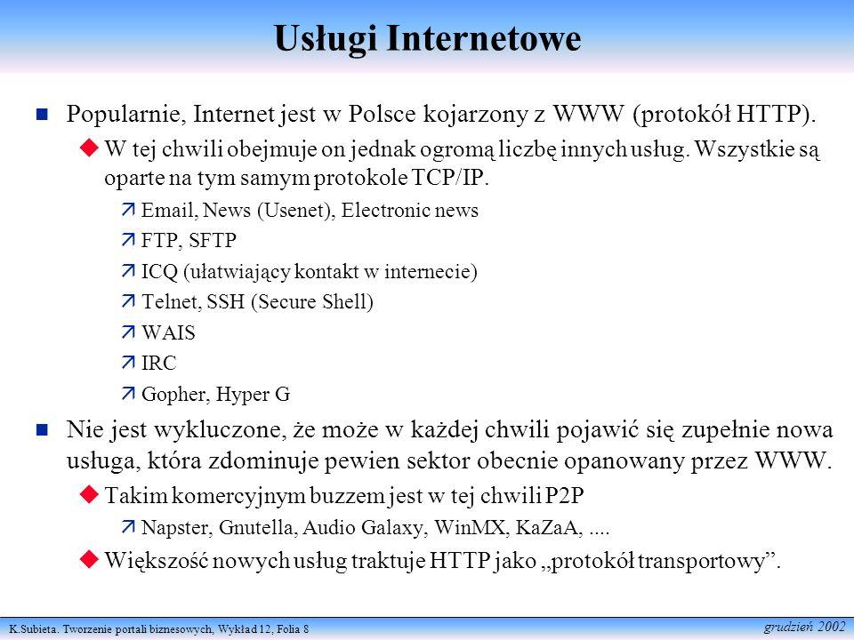 K.Subieta. Tworzenie portali biznesowych, Wykład 12, Folia 8 grudzień 2002 Usługi Internetowe Popularnie, Internet jest w Polsce kojarzony z WWW (prot