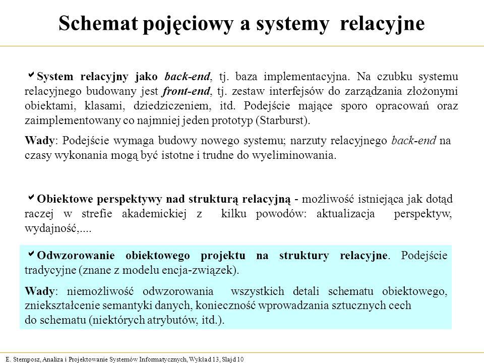 E. Stemposz, Analiza i Projektowanie Systemów Informatycznych, Wykład 13, Slajd 10 Schemat pojęciowy a systemy relacyjne System relacyjny jako back-en