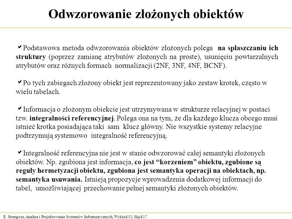 E. Stemposz, Analiza i Projektowanie Systemów Informatycznych, Wykład 13, Slajd 17 Odwzorowanie złożonych obiektów Podstawowa metoda odwzorowania obie
