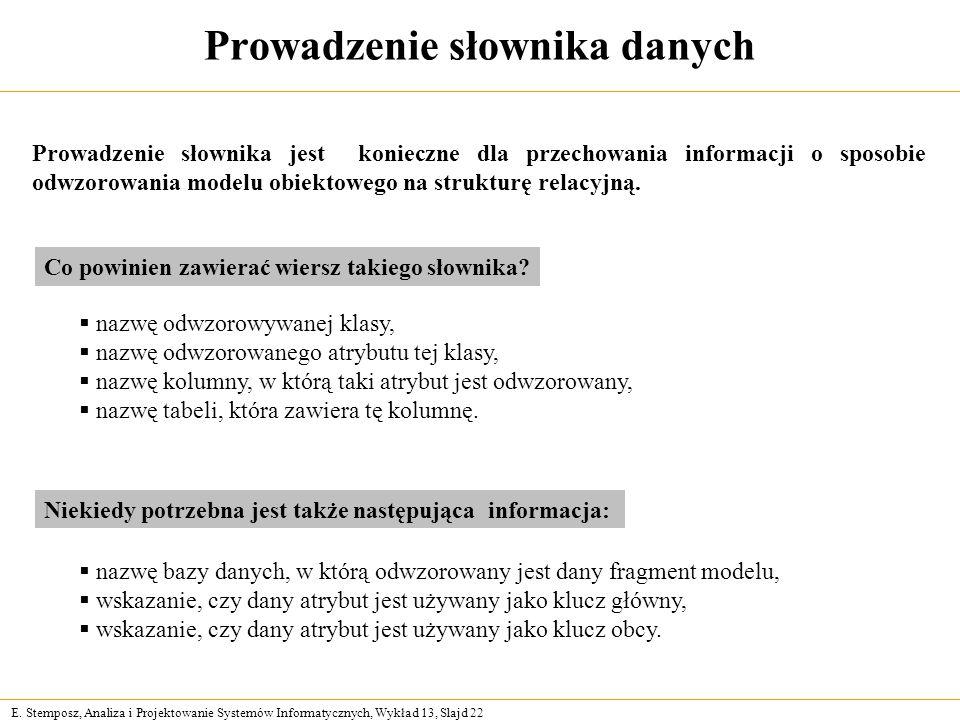 E. Stemposz, Analiza i Projektowanie Systemów Informatycznych, Wykład 13, Slajd 22 Prowadzenie słownika danych Prowadzenie słownika jest konieczne dla