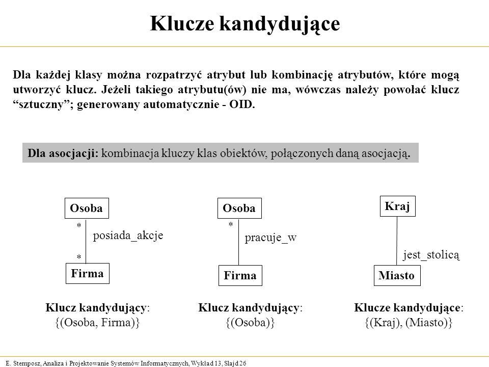 E. Stemposz, Analiza i Projektowanie Systemów Informatycznych, Wykład 13, Slajd 26 Klucze kandydujące Firma Osoba posiada_akcje Klucz kandydujący: {(O
