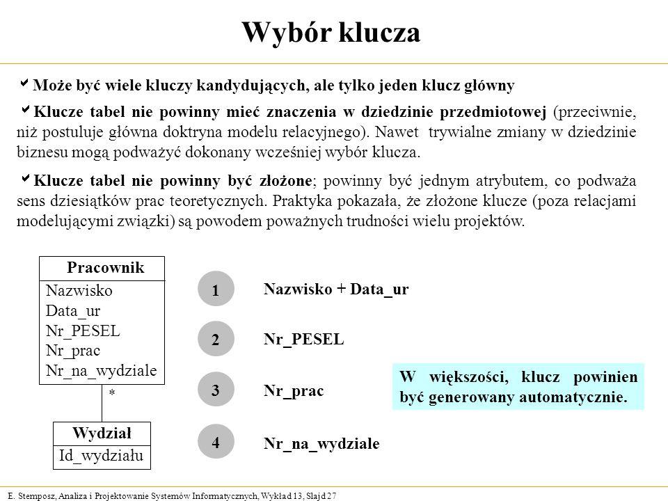 E. Stemposz, Analiza i Projektowanie Systemów Informatycznych, Wykład 13, Slajd 27 Wybór klucza Może być wiele kluczy kandydujących, ale tylko jeden k