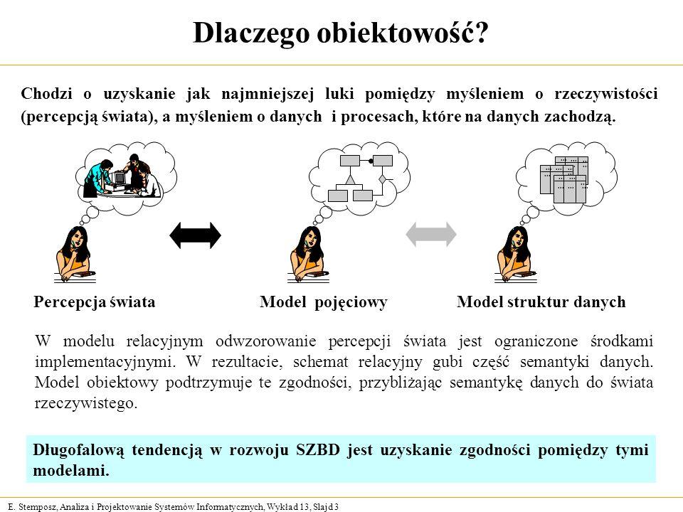 E. Stemposz, Analiza i Projektowanie Systemów Informatycznych, Wykład 13, Slajd 3 Dlaczego obiektowość? W modelu relacyjnym odwzorowanie percepcji świ