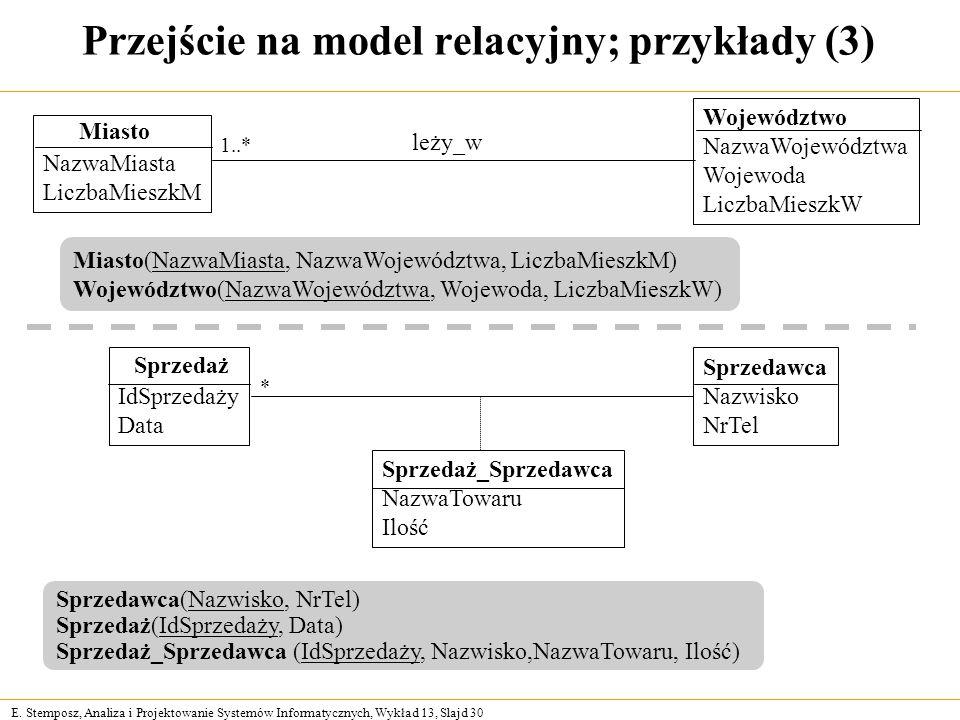 E. Stemposz, Analiza i Projektowanie Systemów Informatycznych, Wykład 13, Slajd 30 Przejście na model relacyjny; przykłady (3) Sprzedawca(Nazwisko, Nr