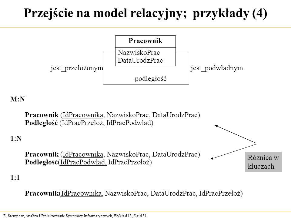 E. Stemposz, Analiza i Projektowanie Systemów Informatycznych, Wykład 13, Slajd 31 Przejście na model relacyjny; przykłady (4) podległość jest_podwład