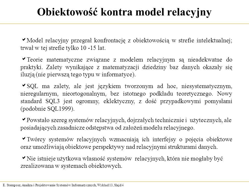 E. Stemposz, Analiza i Projektowanie Systemów Informatycznych, Wykład 13, Slajd 4 Obiektowość kontra model relacyjny Model relacyjny przegrał konfront