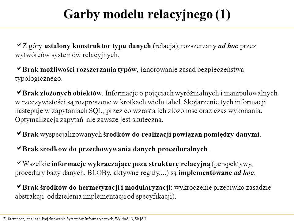 E. Stemposz, Analiza i Projektowanie Systemów Informatycznych, Wykład 13, Slajd 5 Garby modelu relacyjnego (1) Z góry ustalony konstruktor typu danych