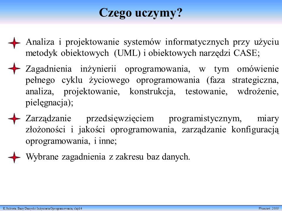 K.Subieta.Bazy Danych i Inżynieria Oprogramowania, slajd 5 Wrzesień.