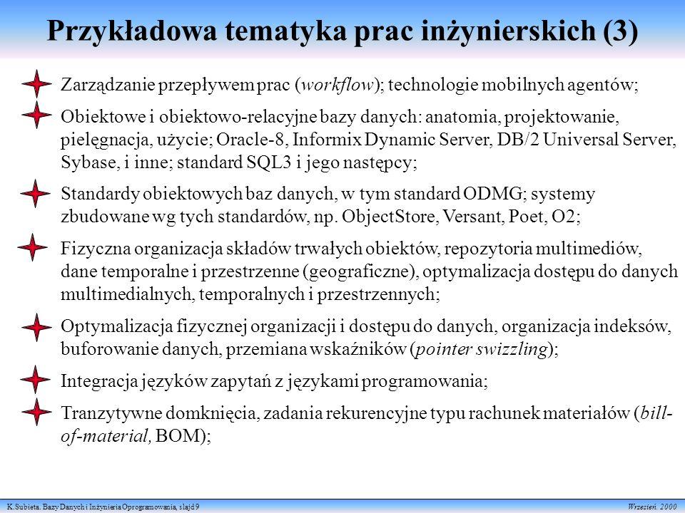 K.Subieta.Bazy Danych i Inżynieria Oprogramowania, slajd 10 Wrzesień.