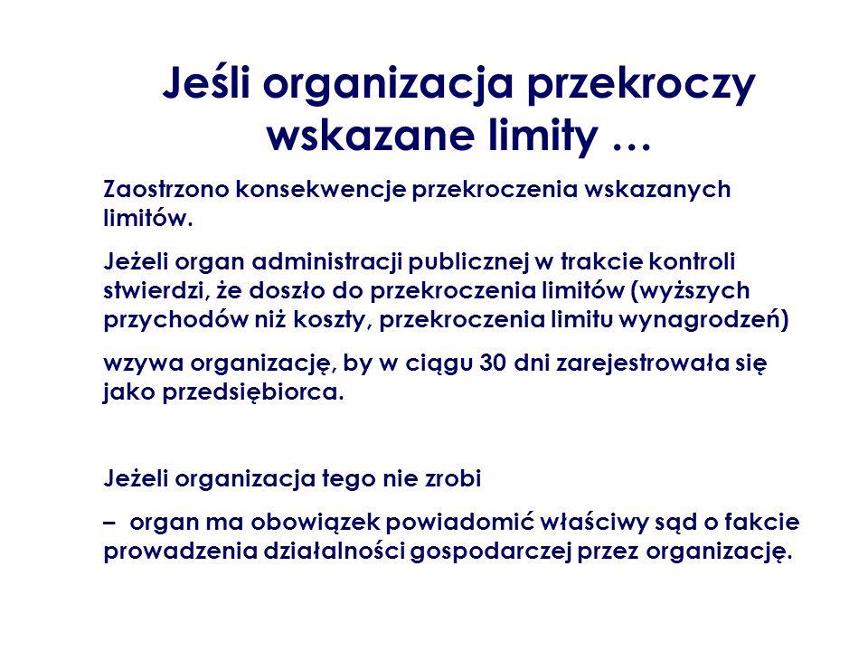 Jeśli organizacja przekroczy wskazane limity … Zaostrzono konsekwencje przekroczenia wskazanych limitów. Jeżeli organ administracji publicznej w trakc