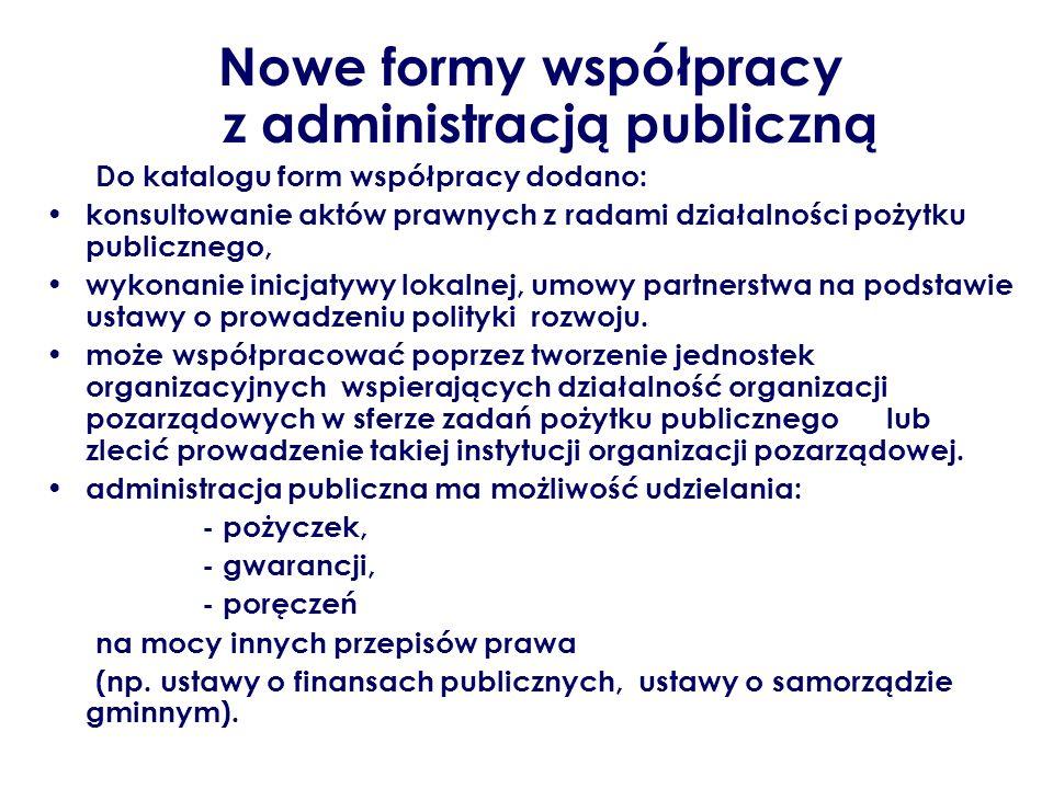 Nowe formy współpracy z administracją publiczną Do katalogu form współpracy dodano: konsultowanie aktów prawnych z radami działalności pożytku publicz