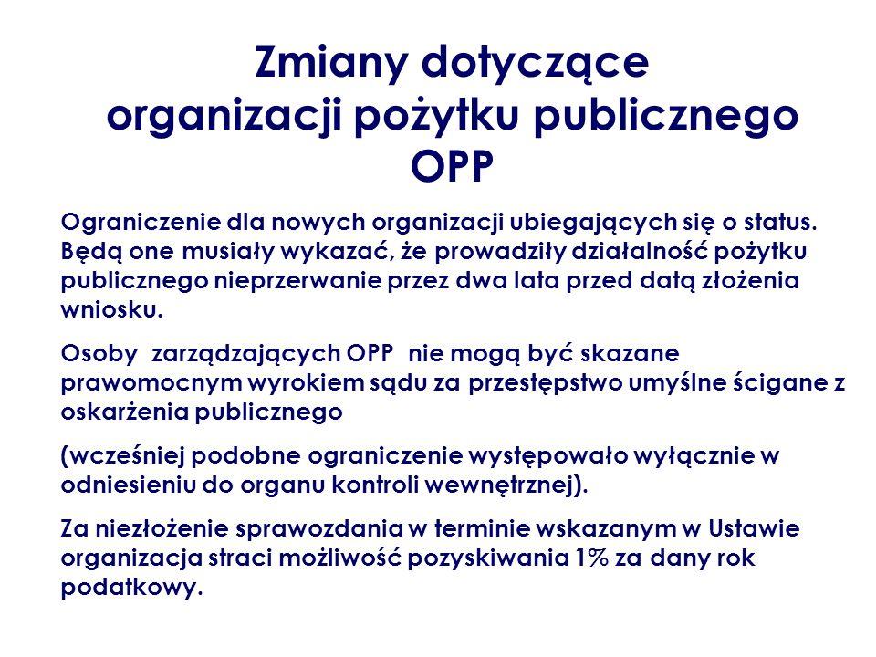 Zmiany dotyczące organizacji pożytku publicznego OPP Ograniczenie dla nowych organizacji ubiegających się o status. Będą one musiały wykazać, że prowa
