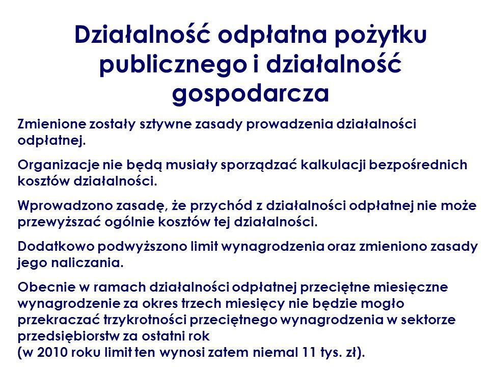 Działalność odpłatna pożytku publicznego i działalność gospodarcza Zmienione zostały sztywne zasady prowadzenia działalności odpłatnej. Organizacje ni