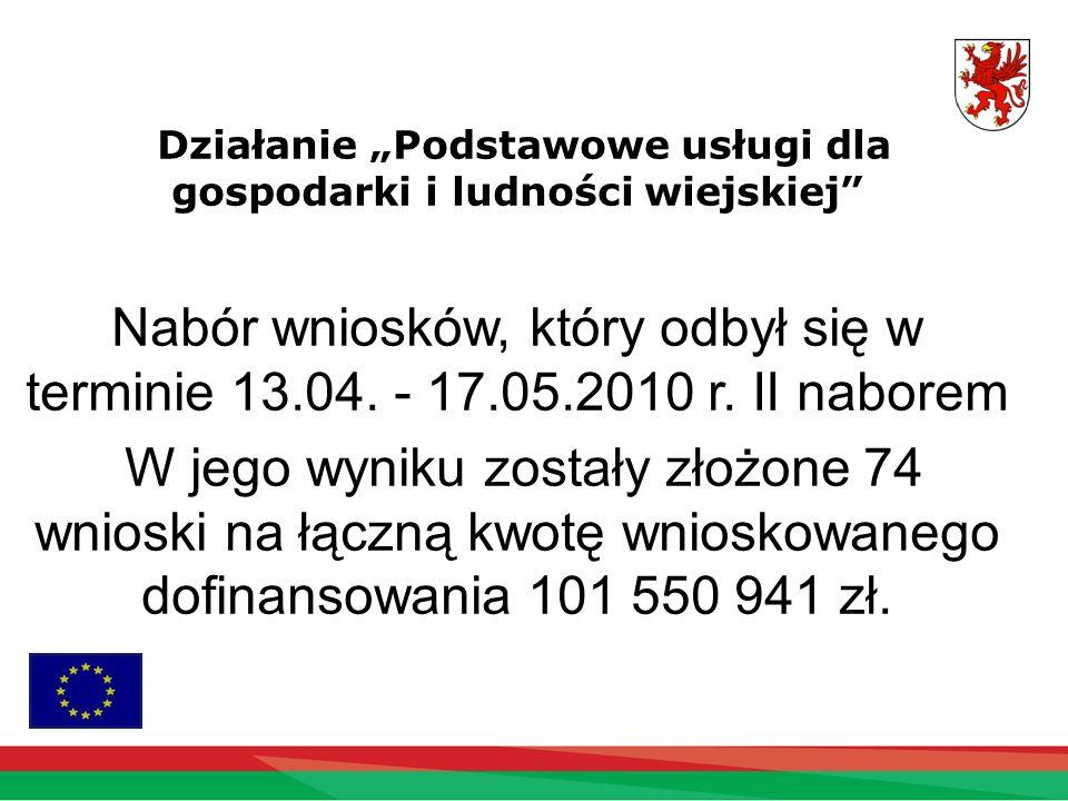Działanie Podstawowe usługi dla gospodarki i ludności wiejskiej Nabór wniosków, który odbył się w terminie 13.04. - 17.05.2010 r. II naborem W jego wy