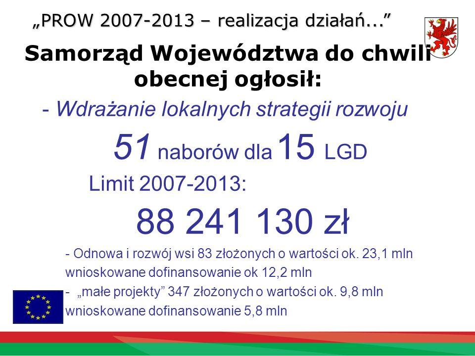 Samorząd Województwa do chwili obecnej ogłosił: PROW 2007-2013 – realizacja działań... - Wdrażanie lokalnych strategii rozwoju 51 naborów dla 15 LGD L