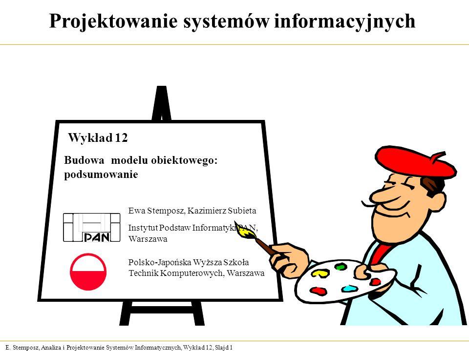 E. Stemposz, Analiza i Projektowanie Systemów Informatycznych, Wykład 12, Slajd 1 Projektowanie systemów informacyjnych Ewa Stemposz, Kazimierz Subiet