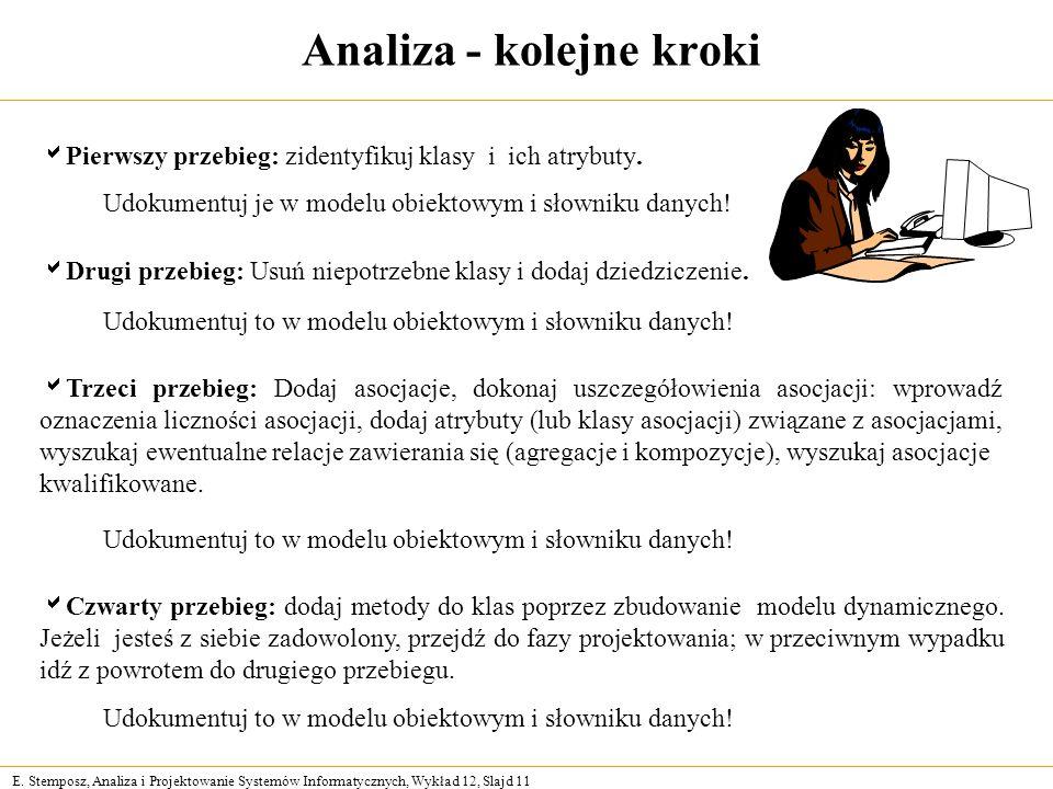 E. Stemposz, Analiza i Projektowanie Systemów Informatycznych, Wykład 12, Slajd 11 Analiza - kolejne kroki Pierwszy przebieg: zidentyfikuj klasy i ich