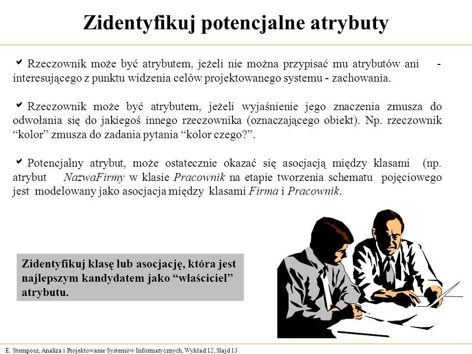 E. Stemposz, Analiza i Projektowanie Systemów Informatycznych, Wykład 12, Slajd 13 Zidentyfikuj potencjalne atrybuty Rzeczownik może być atrybutem, je