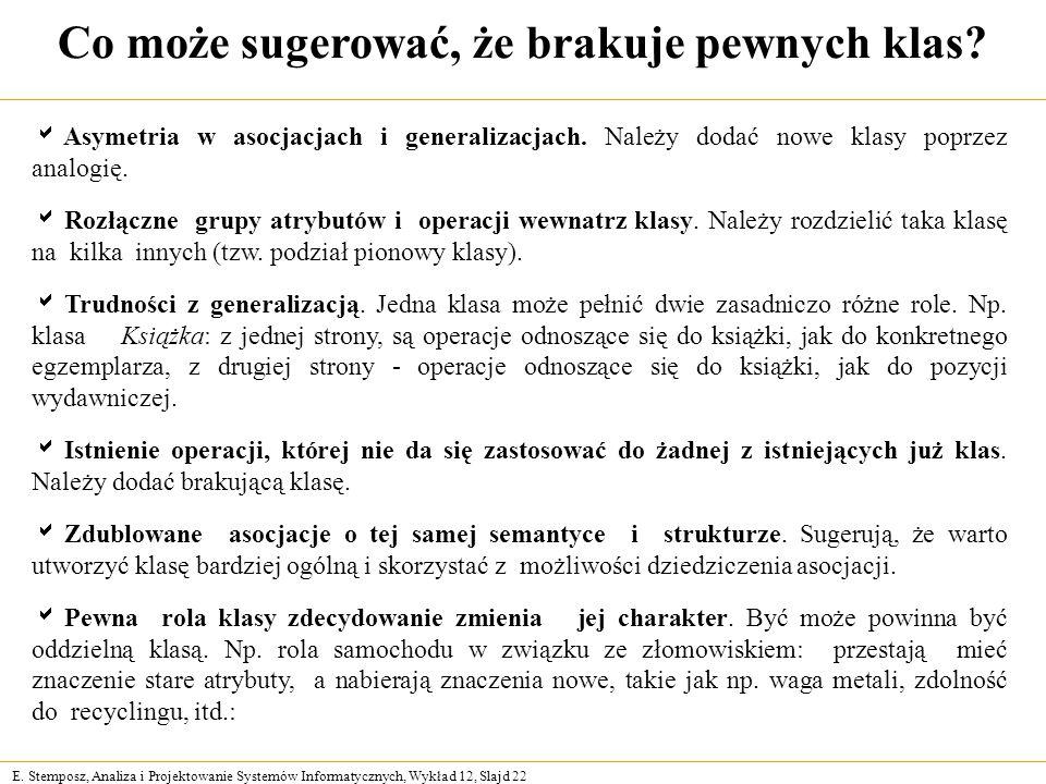 E. Stemposz, Analiza i Projektowanie Systemów Informatycznych, Wykład 12, Slajd 22 Co może sugerować, że brakuje pewnych klas? Asymetria w asocjacjach