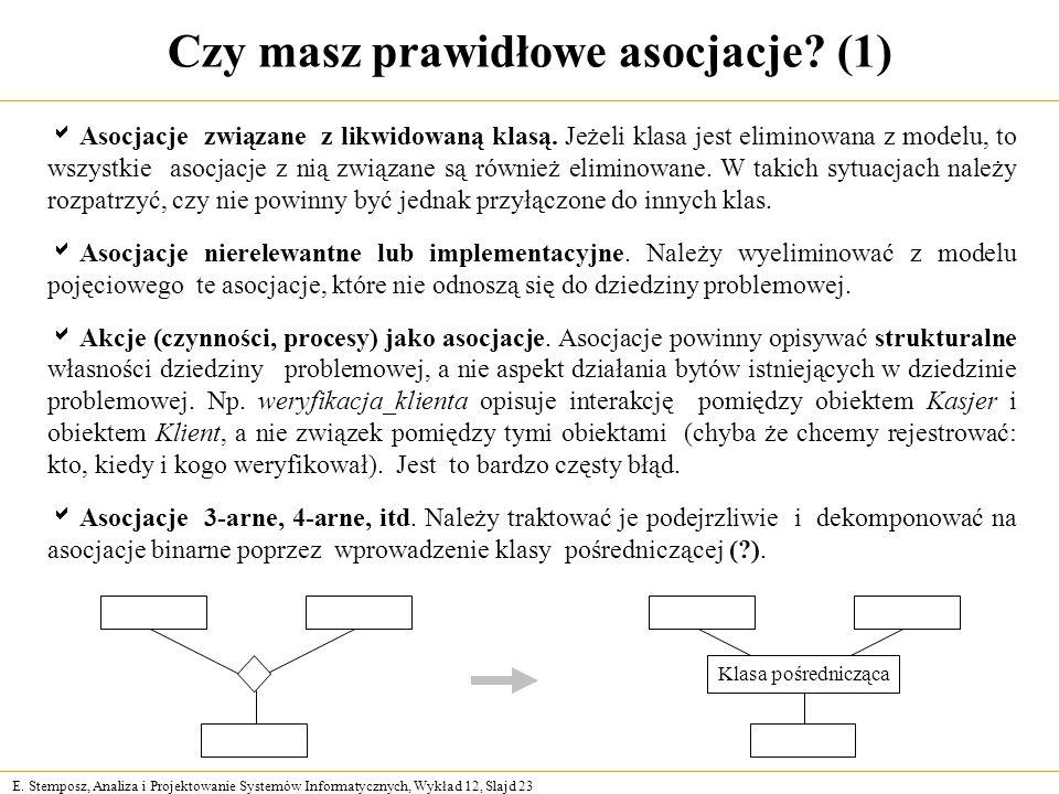 E. Stemposz, Analiza i Projektowanie Systemów Informatycznych, Wykład 12, Slajd 23 Czy masz prawidłowe asocjacje? (1) Asocjacje związane z likwidowaną