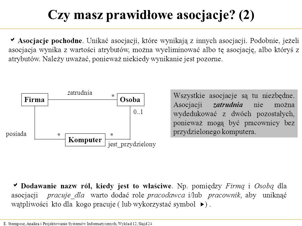 E. Stemposz, Analiza i Projektowanie Systemów Informatycznych, Wykład 12, Slajd 24 Czy masz prawidłowe asocjacje? (2) posiada Dodawanie nazw ról, kied