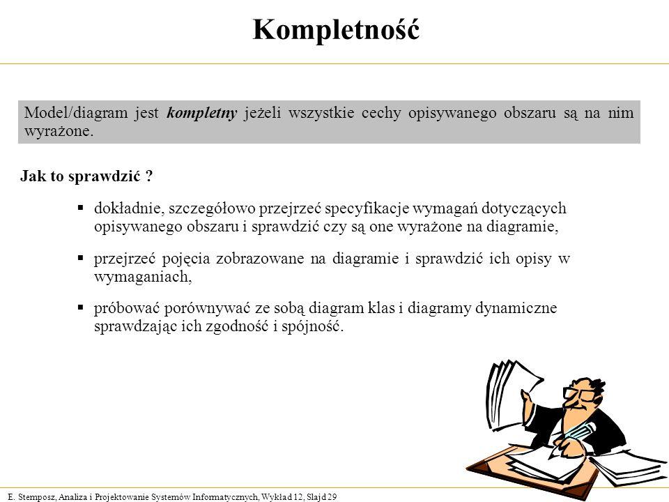 E. Stemposz, Analiza i Projektowanie Systemów Informatycznych, Wykład 12, Slajd 29 Kompletność Jak to sprawdzić ? dokładnie, szczegółowo przejrzeć spe