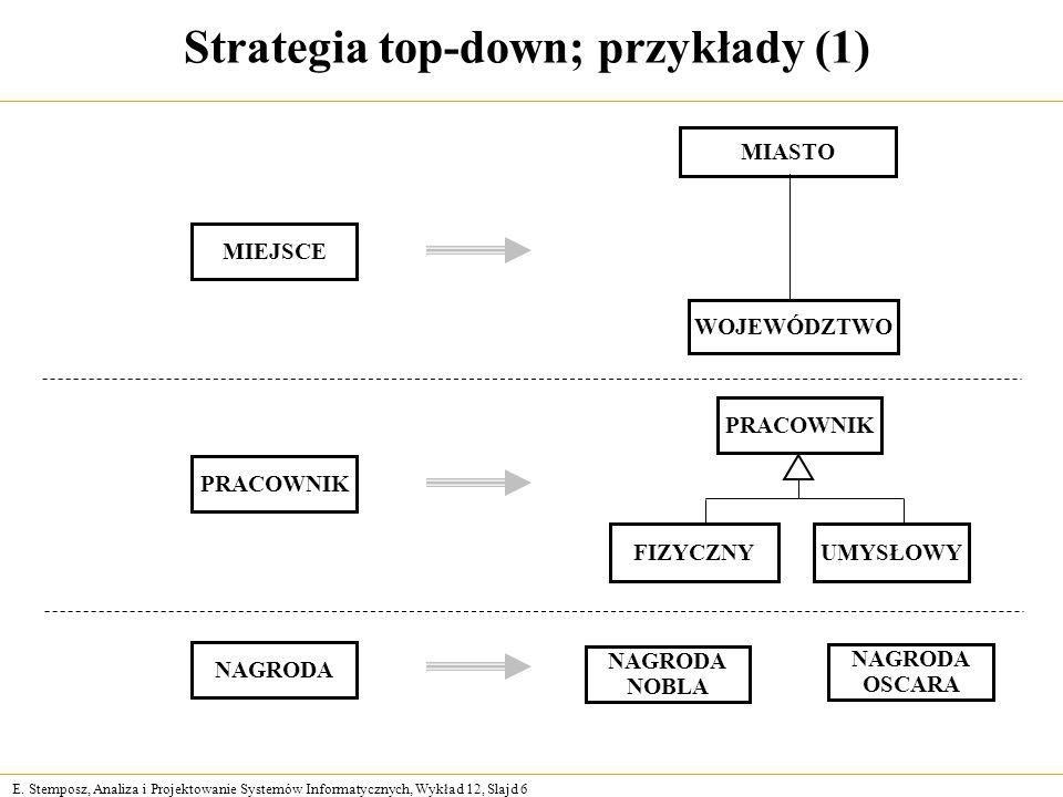 E. Stemposz, Analiza i Projektowanie Systemów Informatycznych, Wykład 12, Slajd 6 Strategia top-down; przykłady (1) PRACOWNIK NAGRODA NOBLA NAGRODA OS