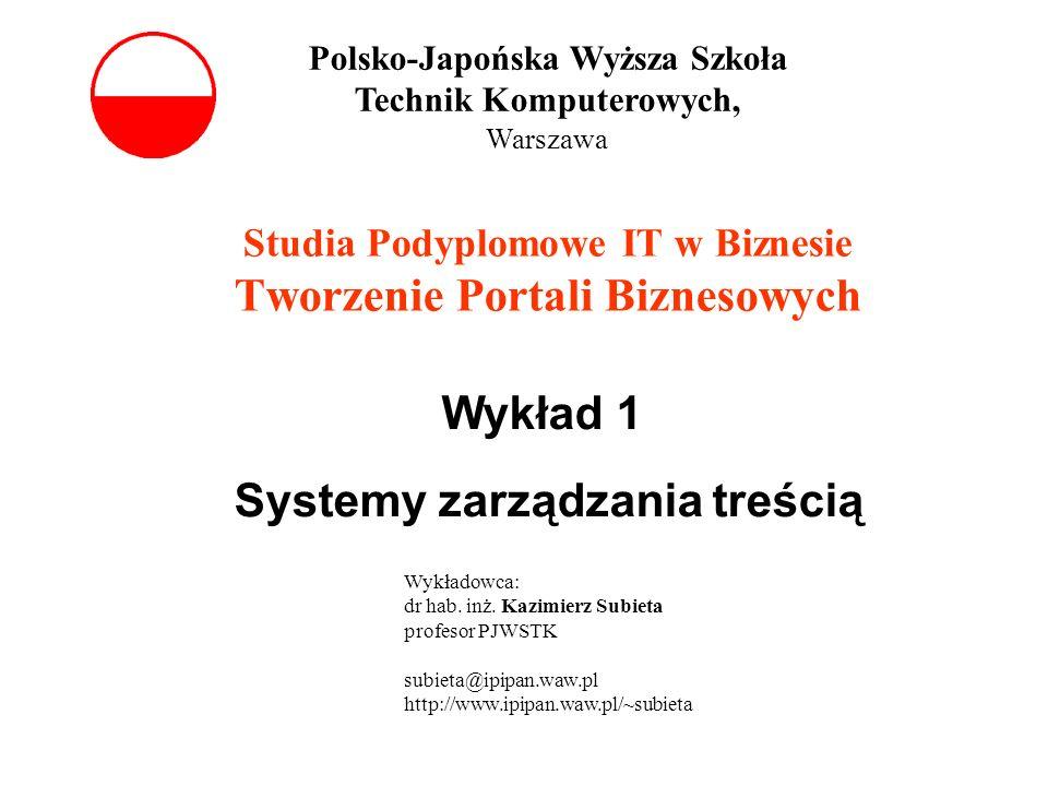 Studia Podyplomowe IT w Biznesie Tworzenie Portali Biznesowych Wykład 1 Systemy zarządzania treścią Polsko-Japońska Wyższa Szkoła Technik Komputerowyc